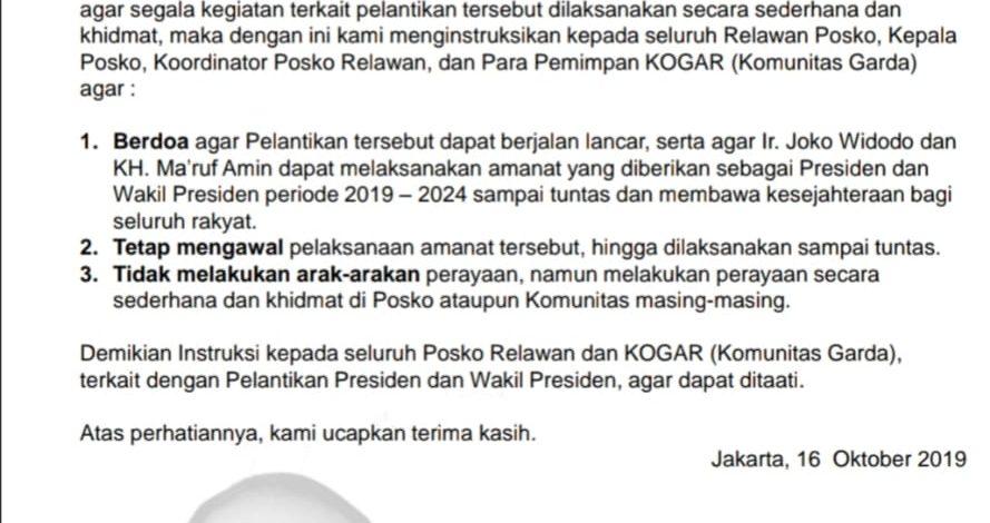 Istruksi Posko Relawan Jokowi-Amin
